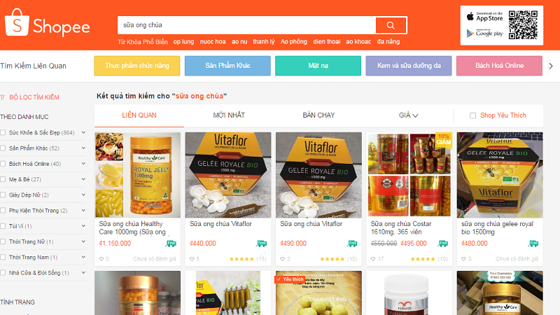 Shoppee vi phạm quy định về quảng cáo thực phẩm bảo vệ sức khỏe