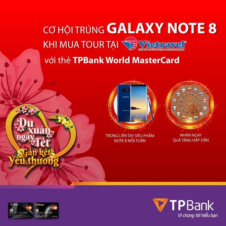 Cơ hội trúng Samsung Galaxy Note 8 khi mua tour với thẻ TPBank World MasterCard