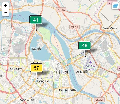 Khu vực ngoại thành Hà Nội sáng nay có nhiều thời điểm không khí đạt chất lượng tốt.