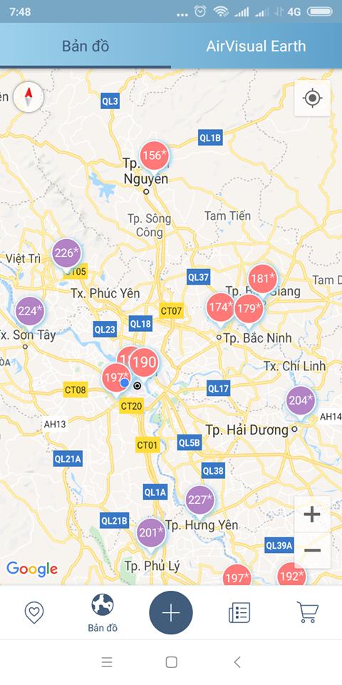 Khu vực nội thành Hà Nội bị