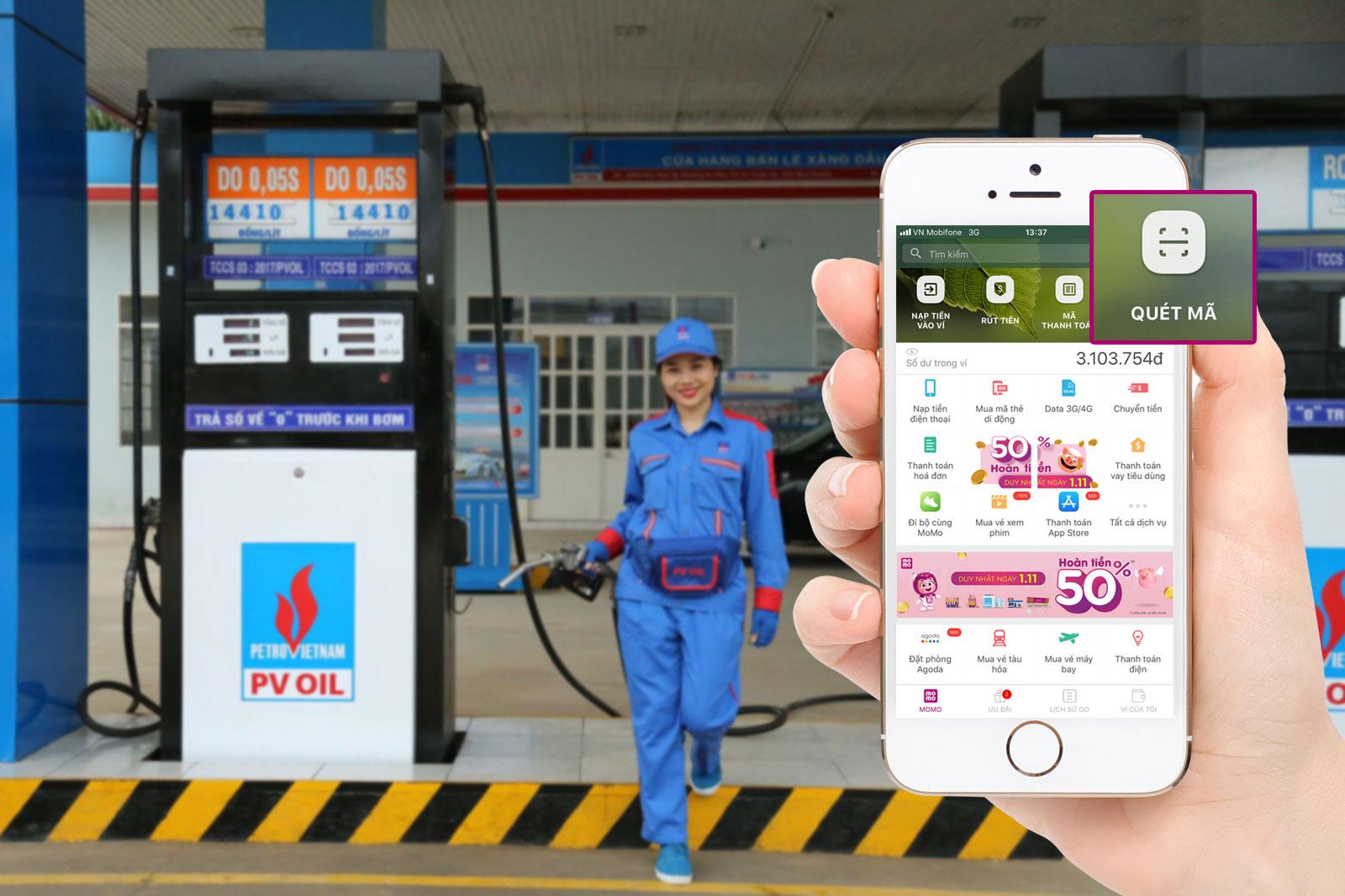 Ví MoMo và PVOIL: Dùng xăng thỏa thích, thanh toán mê tít