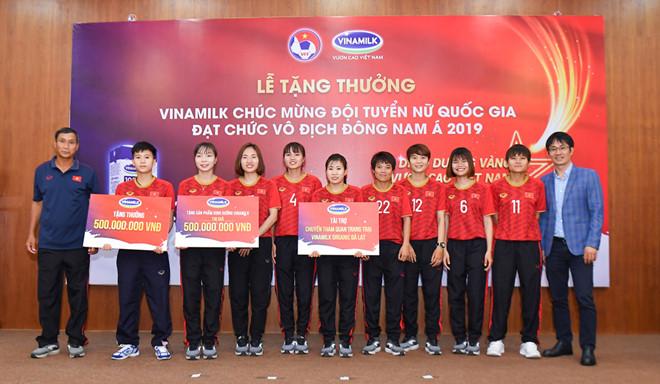 Vinamilk trao thưởng chúc mừng Đội tuyển bóng đá nữ quốc gia
