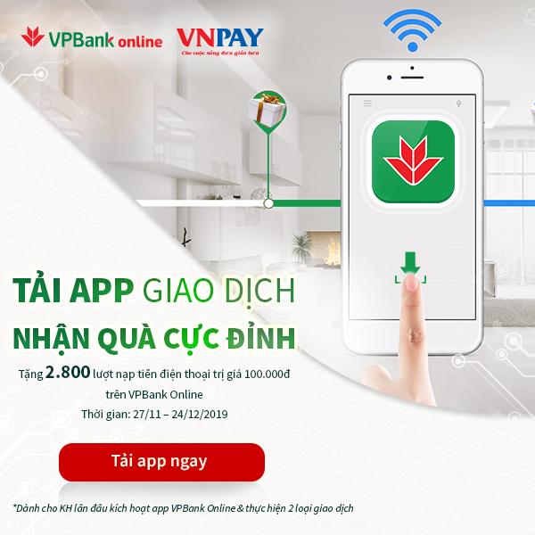 """""""Tải App giao dịch – Nhận quà cực đỉnh"""" từ VPBank"""