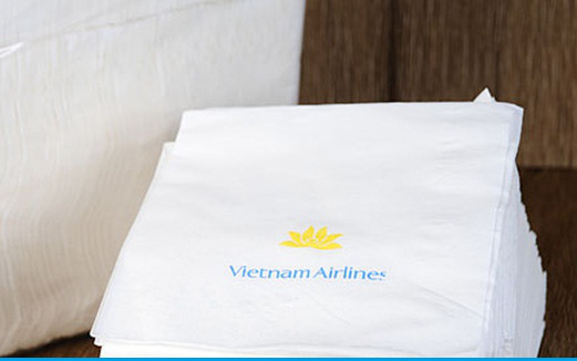 Phát hiện xưởng sản xuất giấy ăn giả nhãn hiệu Vietnam Airlines
