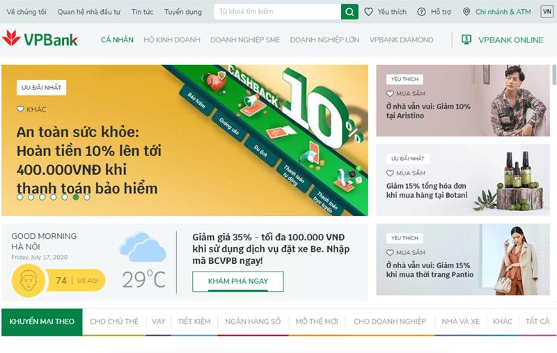 VPBank ra mắt website mới theo phong cách TMĐT tích hợp trí tuệ nhân tạo