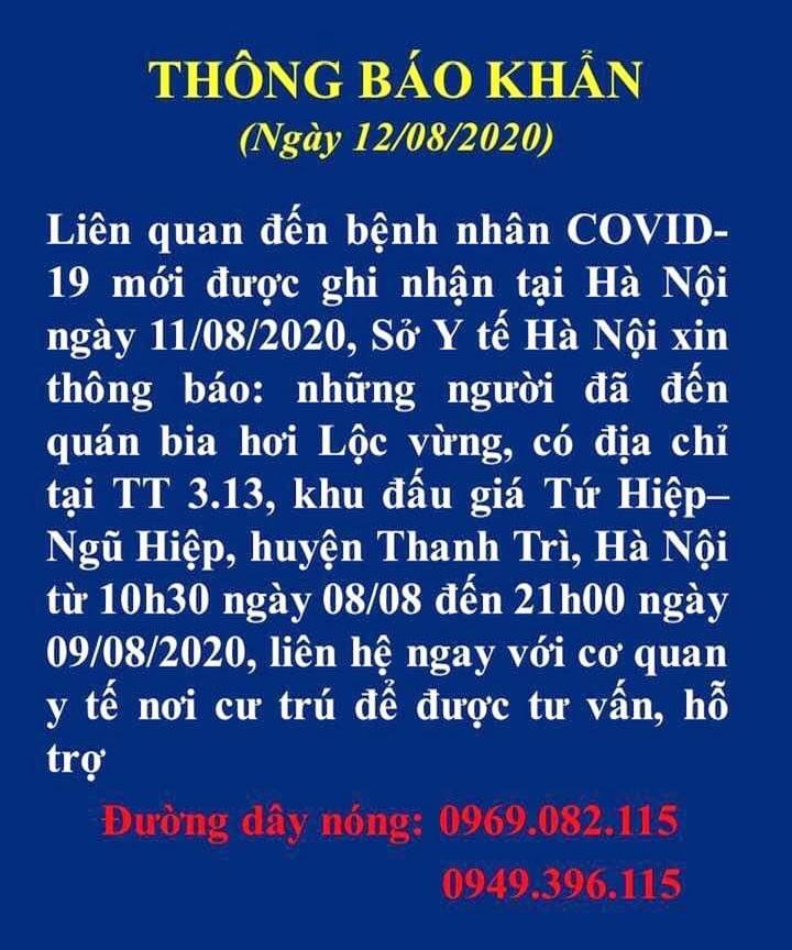 Tìm người liên quan đến bệnh nhân Covid-19 tại quán bia Lộc Vừng, Thanh Trì