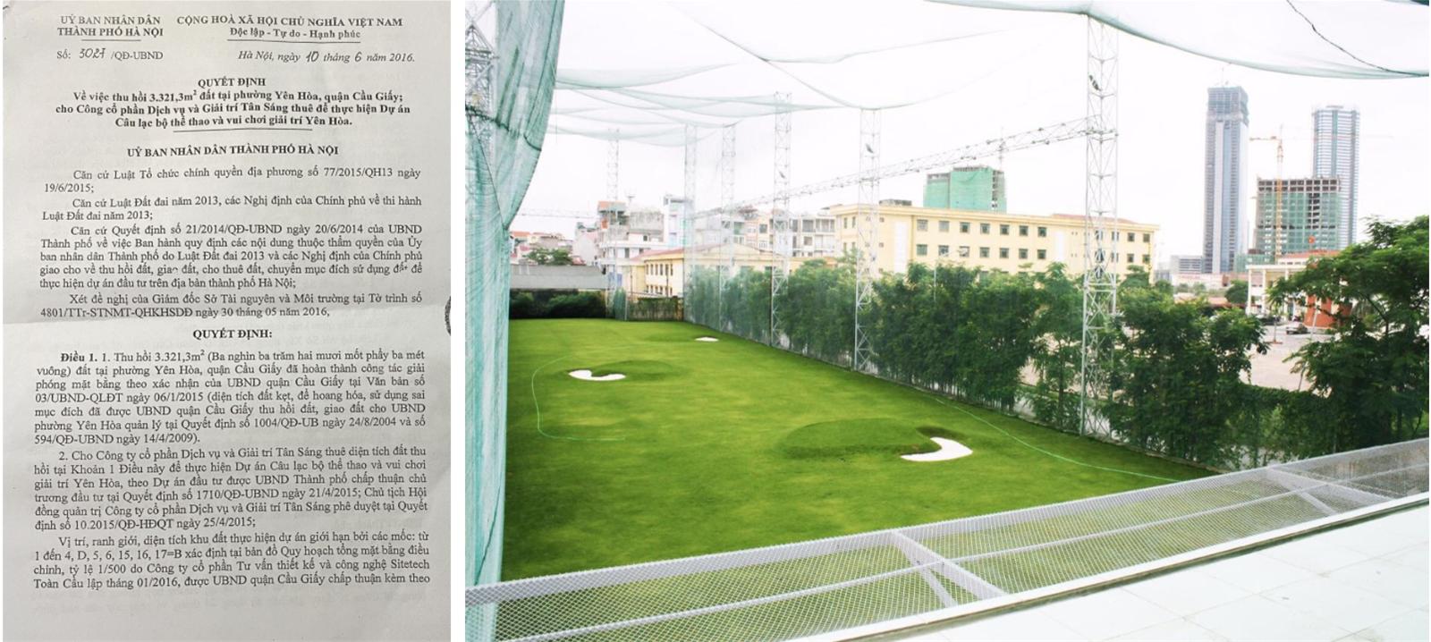 Lợi ích người dân ở đâu khi dự án vui chơi giải trí Yên Hòa thành sân tập Golf?