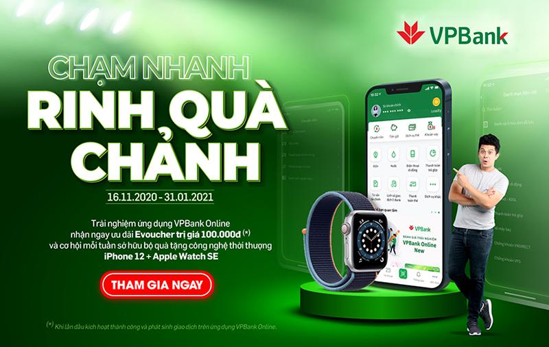 Nhận Iphone 12 và đồng hồ Apple miễn phí khi giao dịch trên VPBank